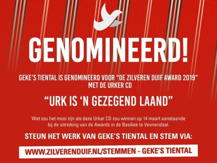 Geke van der Sloot genomineerd voor De Zilveren Duif Award 2019 met URKER CD